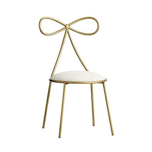 XINGPING Golden Bow Dining Chair Restaurant Net Red Milk Tea Shop Stool Bar Princess Dessert Shop Back Chair (Color : Gold) -