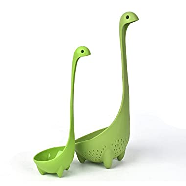 Nessie Family Set, Homebunnyy Nessie Ladle and Colander, Cute Green Mamma Colander and Baby Nessie Ladle Family Pack Stand Up Tableware Kitchen Soup Spoon