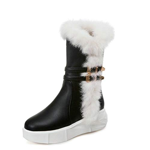 a9323effdfc86 Amazon.com: DETAWIN Women Winter Mid Calf Boot Warm Fur Round Toe ...