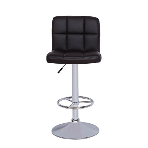 Vogue Furniture Black quilted Vinyl Barstool ADJUSTABLE HEIGHT CHROME - Bar Leaf Banana Stool