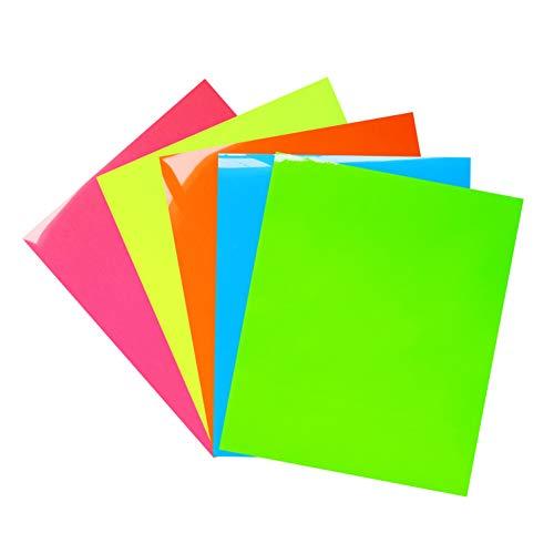 (Neon Heat Transfer Vinyl,Neon Color Heat Press Vinyl Iron-on HTV for DIY T-Shirts 、Idea Fabrics 5 Sheets 12x10 inches (Neon Green,Neon Yellow,Neon Pink,Neon Blue,Neon Orange))