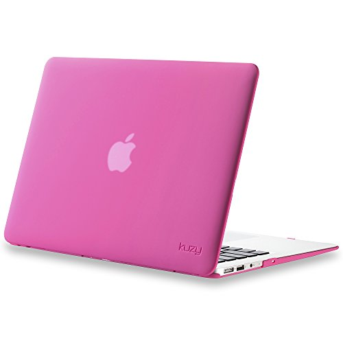 Kuzy MacBook Air 13 inch Case A1466 A1369 Soft Touch Cover for Older Version 2017, 2016, 2015 Hard Shell - Neon Pink