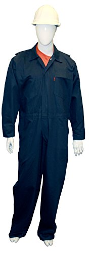 Chicago Protective Apparel 605-FRC-N-L FR Cotton Coverall, Large, Navy -