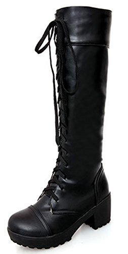 IDIFU Women's Comfy Lace Up Chunky Riding Knee High Boots Black 8 B(M) US (Combat Boots For Teens)