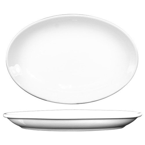 ITI-DO-14 Porcelain Dover 13-1/2 by 9.875-Inch Platter, 12-Piece, White ()