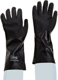 SHOWA Best Glove 7714R-10 Size 10 Black Knight 14'' Jersey Lined PVC Chemical Resistant Gloves With Rough Finish And Gauntlet Cuff (1/PR)