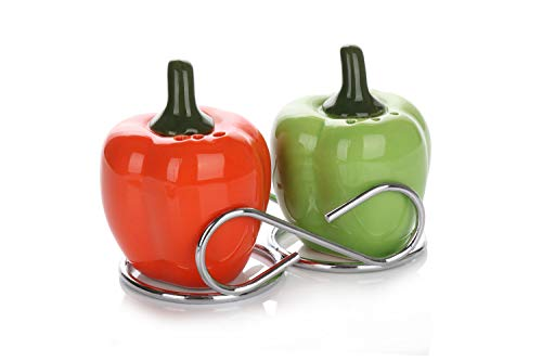 (Cute Collectible Ceramic Salt and Pepper Shakers Set| Farmhouse Style Decorative Dispensers with Stainless Steel Chrome Metal Stand| Unique Vintage Shabby Chic Décor| Green & Red Bell Peppers)