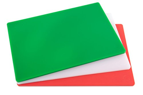 Professional Plastic Cutting Board, HDPE Poly for Restaurants, Dishwasher Safe and BPA Free (20 x 15 x 1/2, 3 Color ()