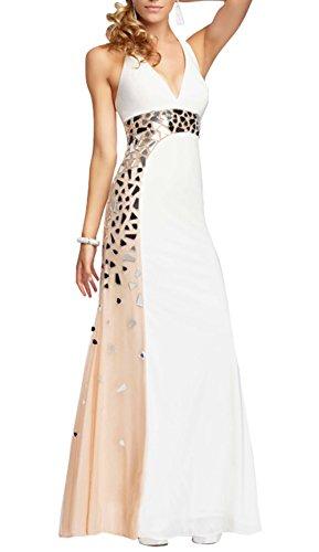 DAPENE® Women V-Neck Halter Mirror Beaded Floor Length Evening Dress White