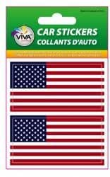 2 USA UNITED STATES COUNTRY FLAG SMALL BUMPER STICKERS DECALS 3.5 CM X 7 CM .. STARS & STRIPES ... NEW IN PACKAGE