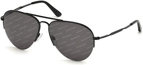 Balenciaga Unisex BA0125 Matte Black/Smoke Logomania Lens One - V Sunglasses Logo
