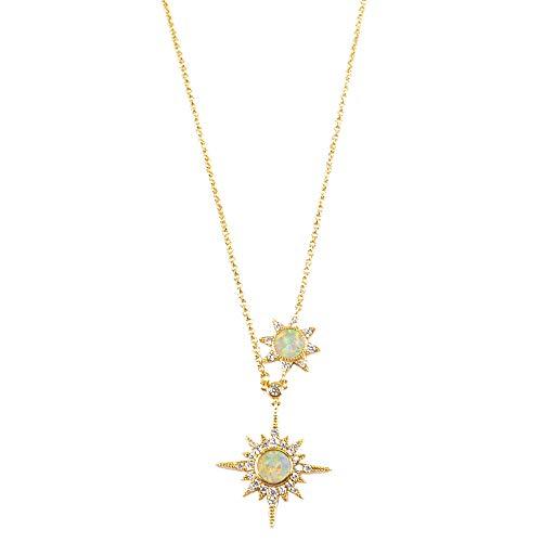 Natural White Opal Pendant - ZENGORI 1Pcs Gold Plated Natural White Opal Pendant Necklace CZ Micro Pave ZNL0081