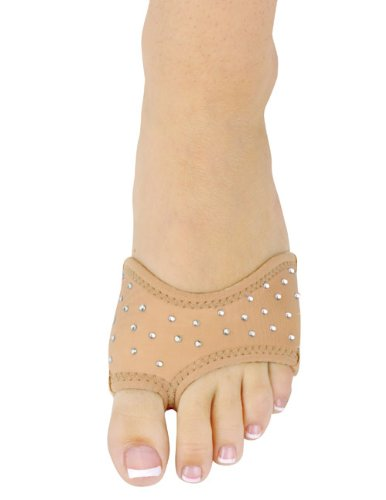 Neoprene Half Sole Lyrical Dance Footwear in Tan with Rhinestones Medium