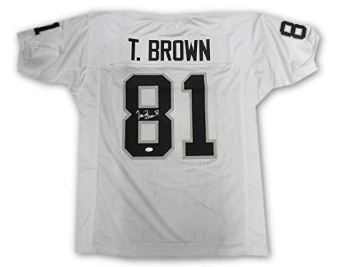 (Tim Brown Hand Signd Autographed Signed Oakland Raiders Jersey Hof 2015 Memorabilia JSA Size 50)