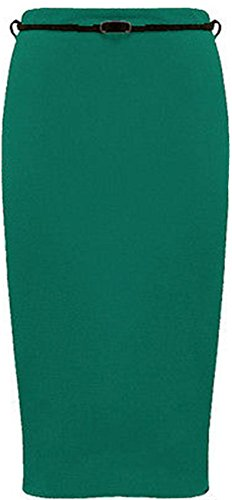 Womens Belted Plain Pencil Skirts Long Bodycon Stretch Office Skirt (22, Teal) by Xclusive Collection
