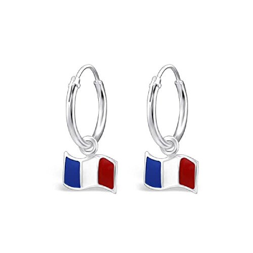 9c321362b13e So Chic Joyas - Pendientes Niños bandera Francesa Francia Esmalte Plata 925  Buena