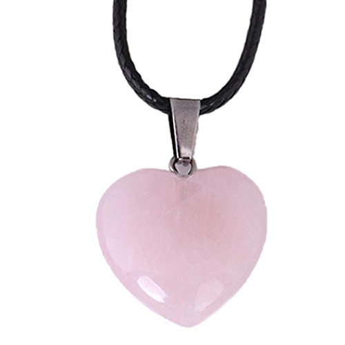 (Crystal Necklace, Kimloog Women's Natural Agate Stone Heart Pattern Quartz Pendant (Pink))
