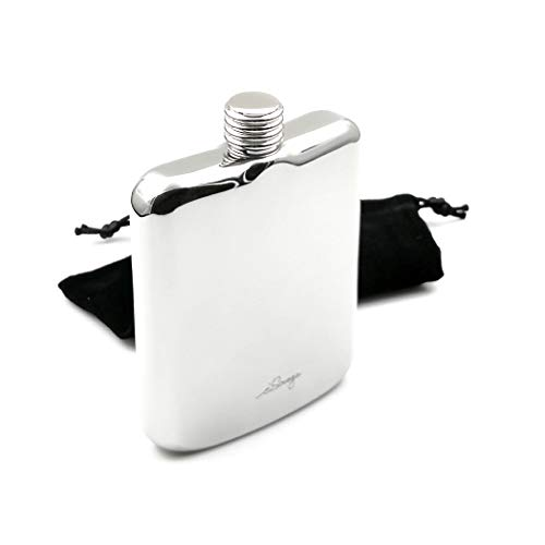 iSavage 6oz Hip Flask Popular Square Shape Mirror Finished 18/8 Stainless Steel -YM138 ()
