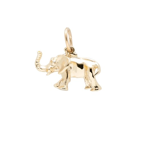 Rembrandt Charms, Elephant, 10K Yellow Gold