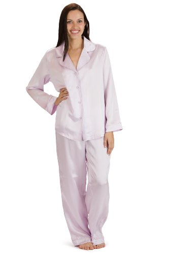 Lavender Mulberry - Fishers Finery Women's Classic Pure Mulberry Silk Pajama Set with Gift Box, Lavender Fog, X-Small