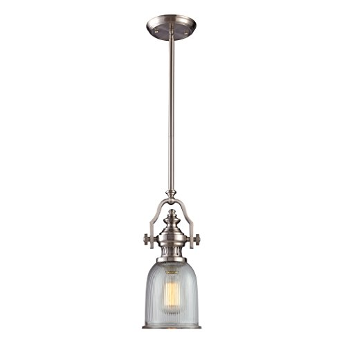 Alumbrada Collection Chadwick 1 Light Pendant In Satin Nickel And Halophane Glass ()