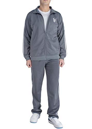 Vertical Sport Men's 2 Piece Jacket Pants Track Suit JS10 (Large, Gray)
