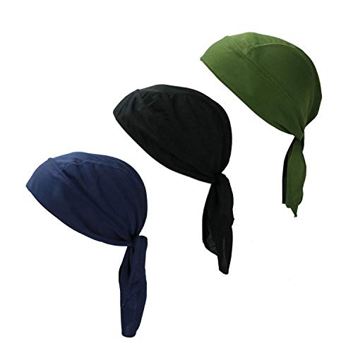 HUELE Set of 3 Pirate Headscarf Skull Cap Head Wrap Cycling Headwrap Running Motorcycle Biker Cap for Men and Women