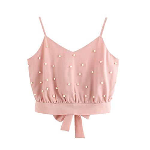 Top camisole chiffon moda maniche della rosa senza perline Merical delle in Gilet in di donne perline 75qXn8w