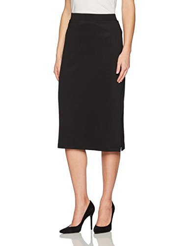 Kasper Women's Midi Slim Skirt with Side Slits, Black, XL