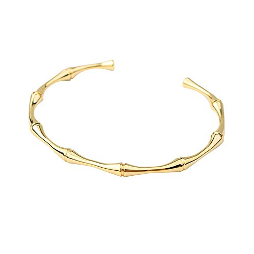 Monobijoux Metal Gold Bamboo Shaped Cuff Bangle Layered Bracelet