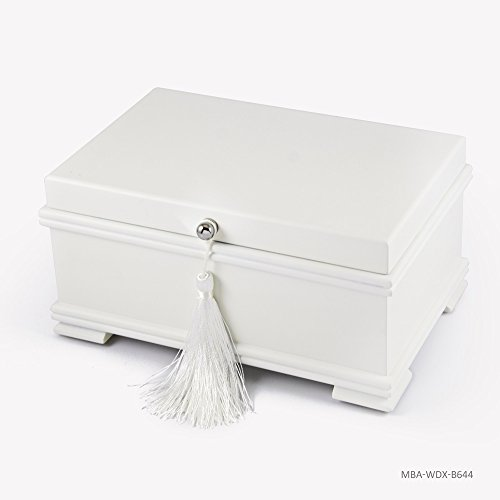 Contemporary 18 Note Matte White Musical Jewelry Box with Lift-Up Tray - In the Good Old Summertime by MusicBoxAttic