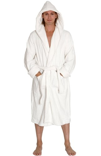(Alexander Del Rossa Mens Turkish Terry Cloth Robe, Thick Hooded Bathrobe, Small Medium White (A0105WHTMD))