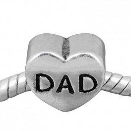 [Buckets of Beads Plain Heart Shape Dad Charm Bead Fits Most Major Charm Bracelets For Women and Girls] (European Plain Base)