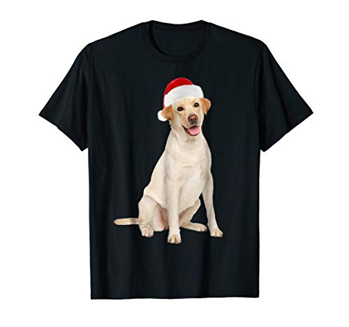 Santa Hat Yellow Lab Portrait Labrador X-mas T-Shirt ()