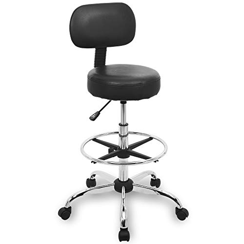 Urest Drafting Stool Drafting Chair Rolling Bar Stool with Adjustable Height, Back Cushion, Foot Rest and Wheels,Esthetician Stool in Black