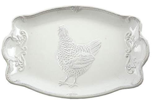 Rooster Serving Platter - Farmhouse Rooster Embossed Ceramic Serving Platter