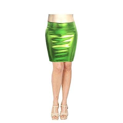 SACASUSA (TM High Waisted Shiny Metallic Liquid Wet Look Pencil Skirt 10 Colors: Clothing