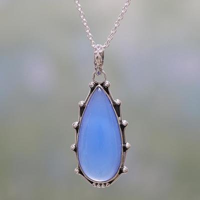 NOVICA Chalcedony .925 Sterling Silver Pendant Necklace, 17.25 , Peaceful Blues