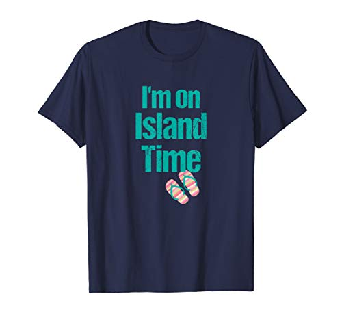 I'm on Island Time Beach Shirt Flip Flops Vintage Print 3XL T-Shirt