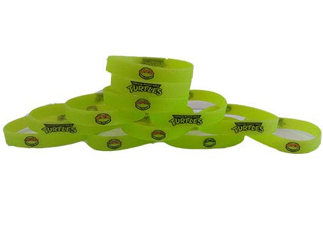 GLOW IN THE DARK - Teenage Mutant Ninja Turtles TMNT Inspired Kids Bracelets and Birthday Party Favors (12) -