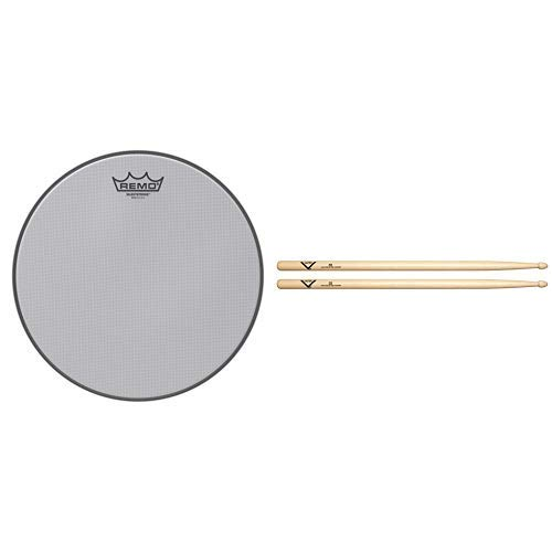 Remo Silentstroke Drumhead, 12'' with Vater 5B Wood Tip Hickory Drum Sticks, Pair by Remo