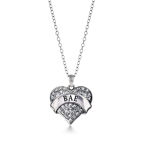 Inspired Silver - Bae Charm Necklace for Women - Silver Pave Heart Charm 18 Inch Necklace with Cubic Zirconia Jewelry