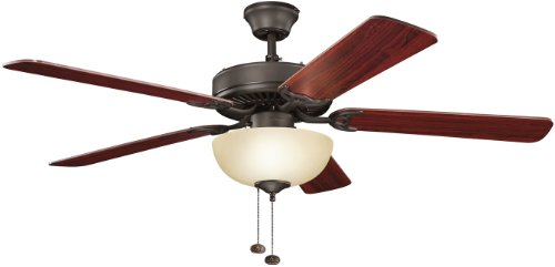 Kichler Lighting 403SNBU Basics Select 52IN 3LT Ceiling Fan, Satin Natural Bronze Finish with Reversible Blades and Umber Etched Glass Shade