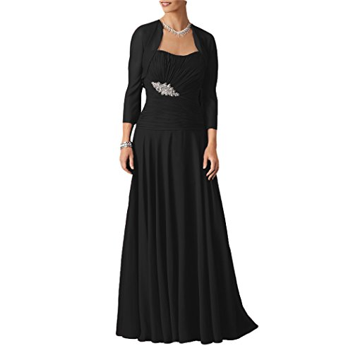Dressyu Longue Mère En Mousseline De Soie De La Robe De Mariée De La Femme Avec La Veste Pour Le Mariage Noir