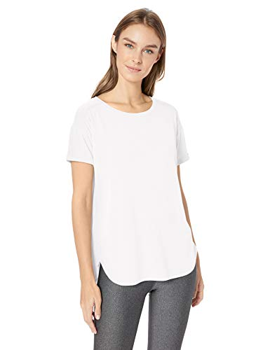 Womens Wicking Crewneck Tee - Amazon Essentials Women's Studio Relaxed-Fit Lightweight Crewneck T-Shirt, -white, Large