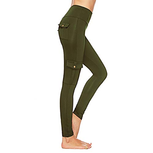 TIANMI Pants for Women,Summer Casual Elastic Tights Hip-up Bottom-up Pants Pocket Buttons Yoga Pants(Army Green,L)