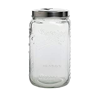 Mason Craft & More Airtight Kitchen Food Storage Clear Glass Pop Up Lid Canister, Extra Large 4.6 Liter Pop Up Canister