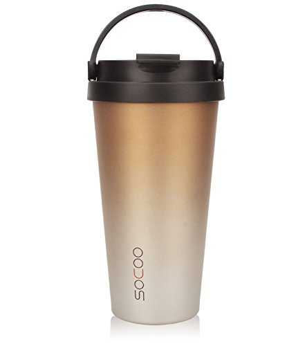 SOCOO Coffee Travel Mugs with Handle for Women Men 16oz Portable Leakproof BPA Free Double Walled Vacuum Insulated Stainless Steel Travel Coffee Tumbler with Lid (Ombre Gold)