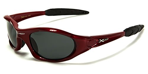 Polarized Xloop Sport Cycling Fishing Golf Wrap Around Running Sunglasses + Monogram Microfiber Pouch (Red)