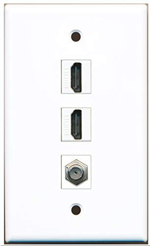 RiteAV - 2 Port HDMI and 1 Port Coax Cable TV- F-Type Wall Plate